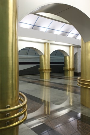 station m�tro: interior subway station  International  in St  Petersburg Banque d'images