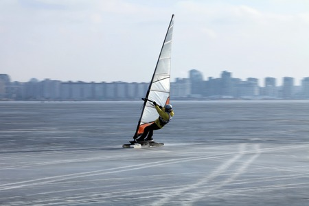 snowkiting: participant World Cup in sailing in the winter,  disciplines snowkiting and windsurfing. St. Petersburg from February 28 to March 3, 2014 Editorial