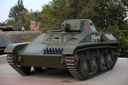 Soviet tank of times of World War 2, the inscription on the armor For the motherland