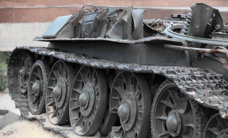 guerilla warfare: destroyed Russian  tank Close to Editorial