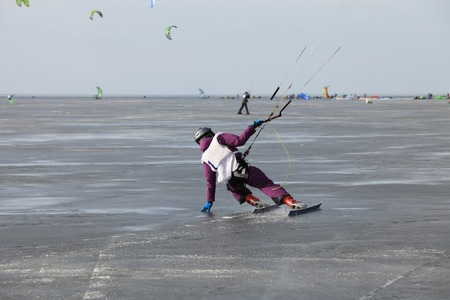 snowkiting: ice kiting on frozen sea