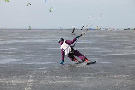 snowkiting: ice kiting on frozen sea