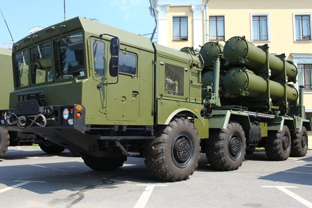 Russian mobile missile launcher on the position