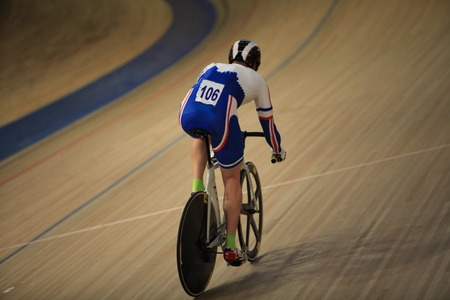 cyclist on a racing bike in Velodrome