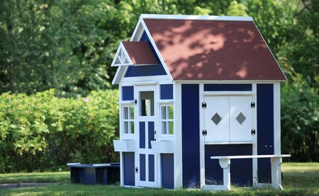 playhouse  in the backyard for kids Stock Photo