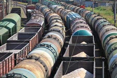Trains Railroad Junction jammed wagons photo