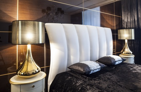 table lamps: home Interior luxury modern bedroom bed and table lamps