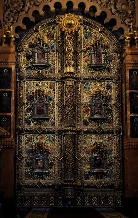 iconostasis: ornate iconostasis gold and precious stones Editorial