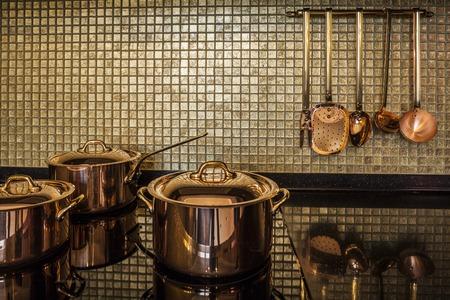 copper utensils luxury  Interior kitchen