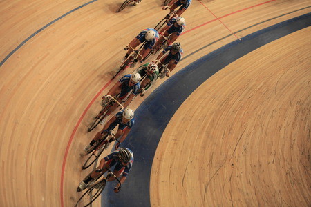 St. Petersburg, Russia,7 August 2014 Championship of Russia on cycling races on the track among juniors