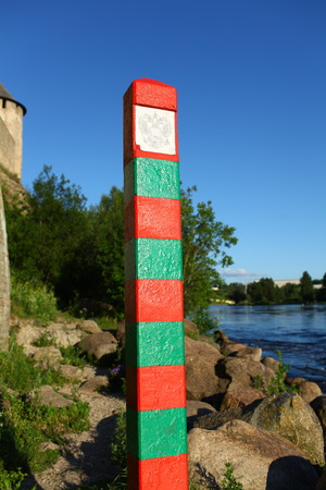 boundary: boundary pillar on the border of Russia
