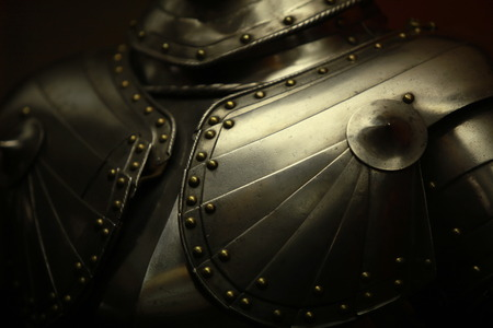 Ancient medieval armor crusader close up Stock Photo