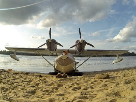 water wings: Flying boat on the beach Stock Photo