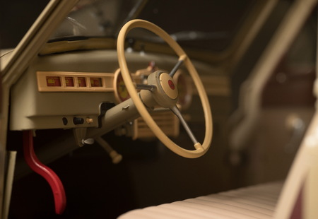 gearstick: Interior of a classic retro car