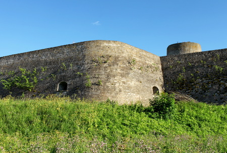 fortified wall: fortified wall Ivangorod Fortress from the bottom Editorial