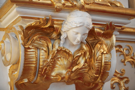 pinstripes: Mascaron building decoration in the form of a human head Stock Photo
