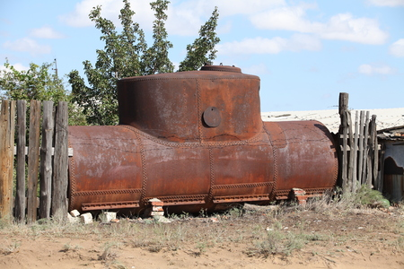 railroad rusty oil storage tank domestic Stock Photo