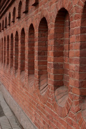 solidity: red brick fortress wall background close to