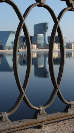 st  petersburg: Modern Architecture of St. Petersburg reflected in water Stock Photo
