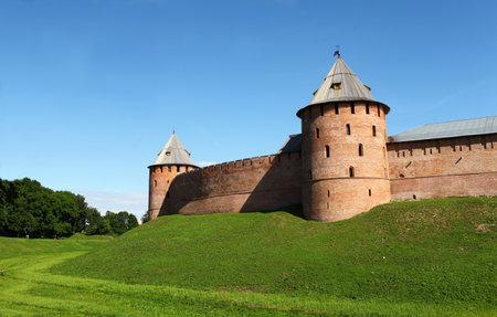 impregnable: Veliky Novgorod Russia June 19, 2014  fortress walls of the Novgorod Kremlin