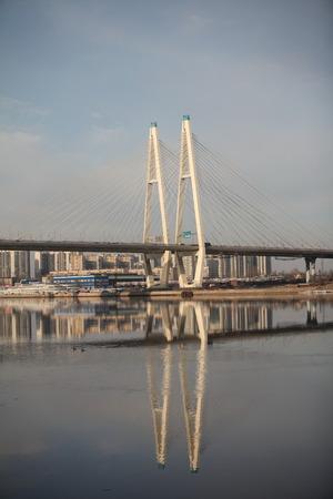shrouds: View Large Obukhov Bridge in St. Petersburg