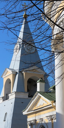 and st petersburg: St. Petersburg, Russia, March 22, 2016  pyramid church bell tower
