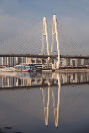shrouds: St. Petersburg, Russia, March 22, 2016  Large Obukhov Bridge in St. Petersburg