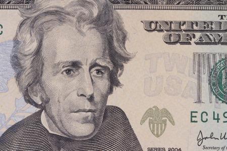 jackson: portrait of the American president  Jackson on dollar bills close-up Stock Photo