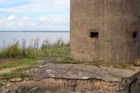 turret: gun turret fort Totleben sea in the Baltic Sea