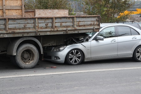 insufficient: crash on the road due to insufficient distance between vehicles Stock Photo