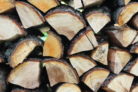 firewood background: Chopped and stacked firewood  background