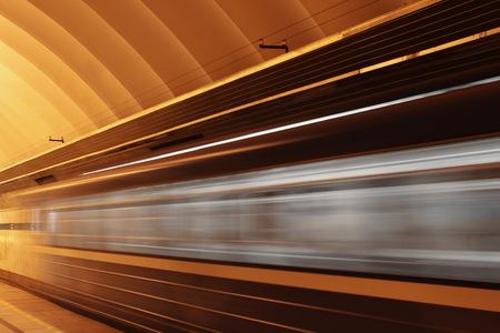 fast train: Subway platform with moving fast train