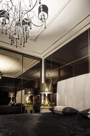luxury bedroom: luxury modern bedroom bed in dark colors  Stock Photo