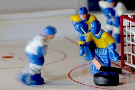 icehockey: hockey table game goalie macro shot