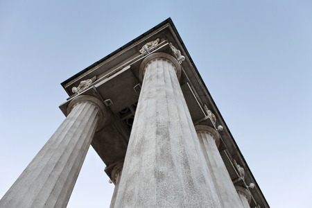 low angle: column triumphal arch Low Angle View Stock Photo