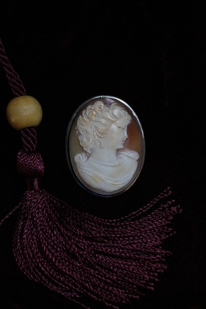 perfil de mujer rostro: female face profile medallion in a frame close to