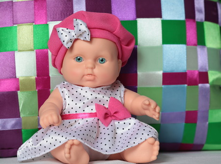 birthday baby doll dress with polka dots nice gift for a child 스톡 콘텐츠