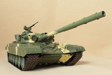 Soviet tank T-72 model front view camouflage coloring Editorial