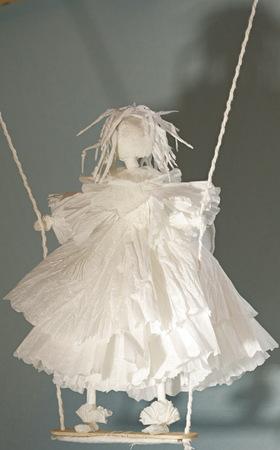 white angel bible puppetry, spiritual symbol, Paper figure, paper toy, dream sleep, beautiful art, flight  fly