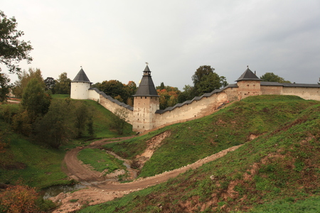 Pskov, Russia, September 21, 2013 Towers and walls formidable medieval fortress Scenic view