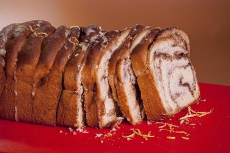slice freshly Sweet bread. Sweet with cinnamon
