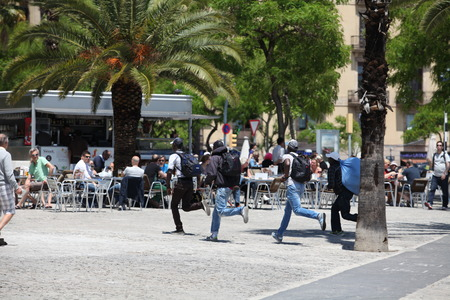 Italy, Rome on June 6, 2013 Illegal migrants from africa Fleeing from persecution of  police