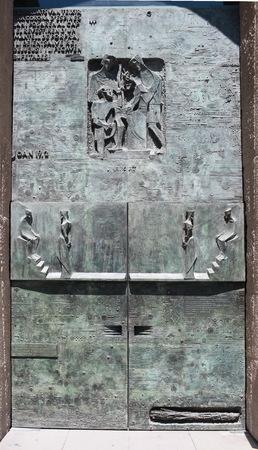 Spain Barcelona,  6 june 2013 Gates to paradise of Basilica Sagrada Familia  designed by Antonio Gaudi Editorial