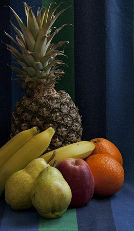 tropical fruits pineapple Banana apple pear still life