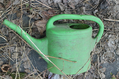 green plastic watering can an abandoned garden still life