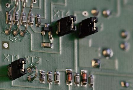 Electronic components on circuit board macro shot