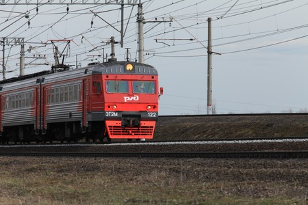 April 10, 2017 St. Petersburg, Russian Railways speed passenger train in motion