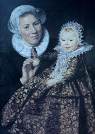 frans: St. Petersburg, Russia, September 30, 2017  Frans Hals picture Mother and girl, woman holds a little girl in her arms, both smile. canvas oil painting