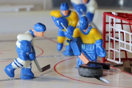 icehockey: attack ice hockey match, table game, macro shot