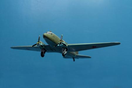 Soviet military transport aircraft Li-2 1937 issue. miniature model